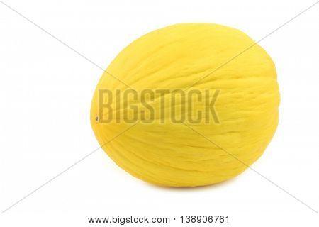 fresh yellow honey melon on a white background