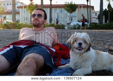 A man and a dog sitting on a beach in summer