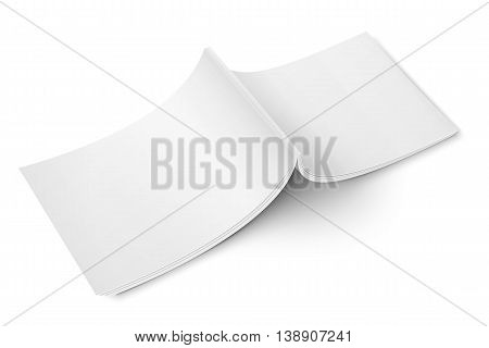 Blank opened magazine back cover template on white background. Wide format. Vector illustration. Ready for your design.