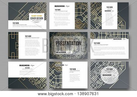 Set of 9 vector templates for presentation slides. Golden technology pattern on dark background with connecting lines and dots, connection structure. Digital scientific vector