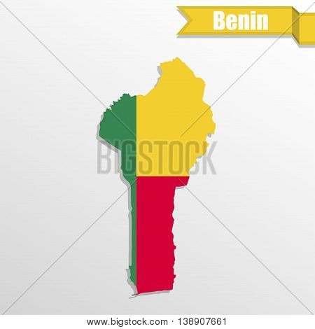 Benin map with flag inside and ribbon
