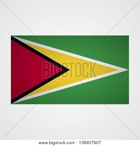 Guyana flag on a gray background. Vector illustration
