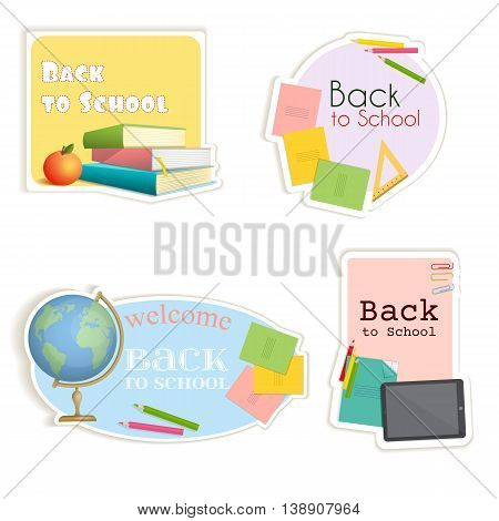 Stickers of various shapes with school supplies. Soon the school. Vector illustration in cartoon style for business use.