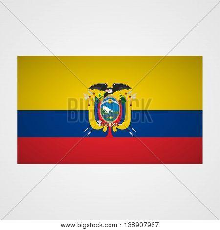 Ecuador flag on a gray background. Vector illustration