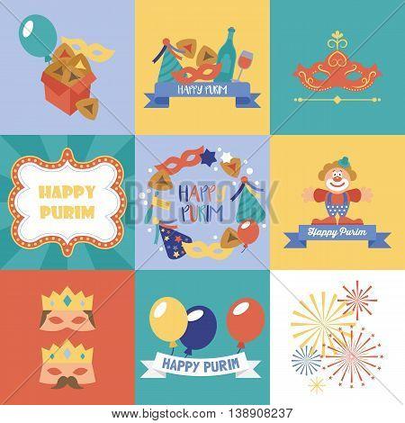 Purim holiday logo design and greeting card set. Vector illustration