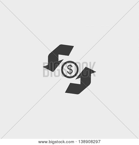 Money convert icon in a flat design in black color. Vector illustration eps10