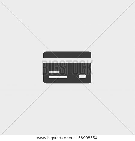 Credit card icon in a flat design in black color. Vector illustration eps10