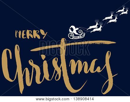 Silhouette Sleigh of Santa Claus and Reindeers. Handdrawn Lettering