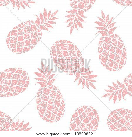 Pineapple vector seamless pattern for textile scrapbooking or wrapping paper. Pineapple siluhette repeating ornament.
