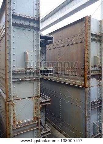 Big Metal Barriere On A Water Dam