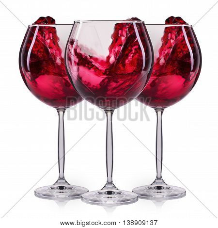 Set of red wineglasses with splash and drops on wineglass isolated on white background.