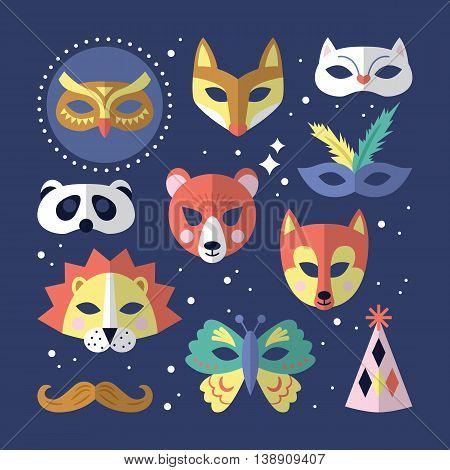 Carnival masks flat stylish design. Vector illustration