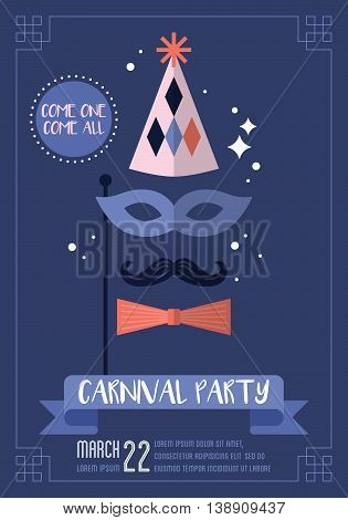 Carnival party accessories poster design. Vector illustration