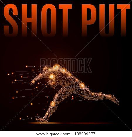 Polygonal shot put athlete in motion. Silhouette of a man made of lines and points. Fire style vector illustration