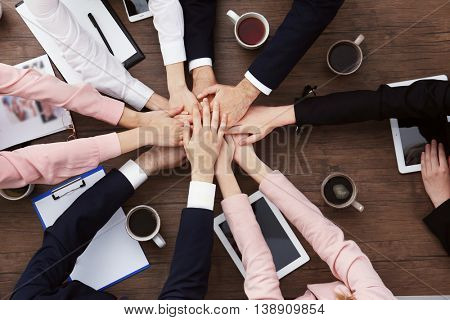 Business people hands over table. Team work concept