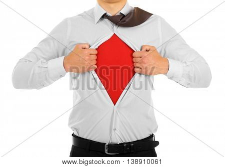 Young businessman super hero, isolated on white