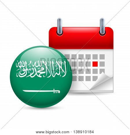 Calendar and round flag icon. National holiday in Saudi Arabia