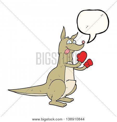 freehand drawn speech bubble cartoon boxing kangaroo