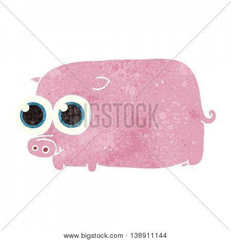 freehand retro cartoon piglet with big pretty eyes