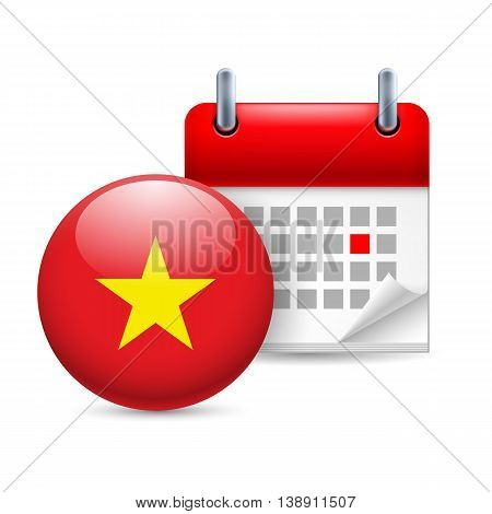 Calendar and round Vietnamese flag icon. National holiday in Vietnam