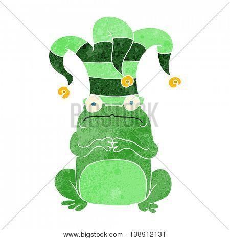 freehand retro cartoon frog wearing jester hat