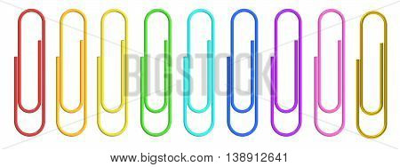 Colorful Paper Clips closeup 3D rendering isolated on white background