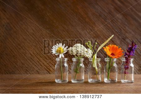 Different healing flowers in small glass bottles on wooden background
