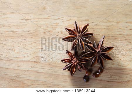 anise star on the wooden background