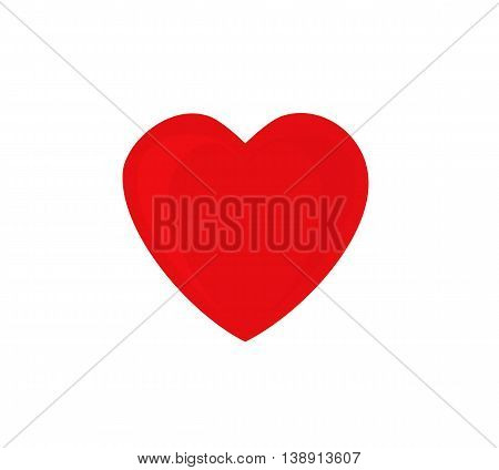 Red heart with shadows,  isolated on white background.