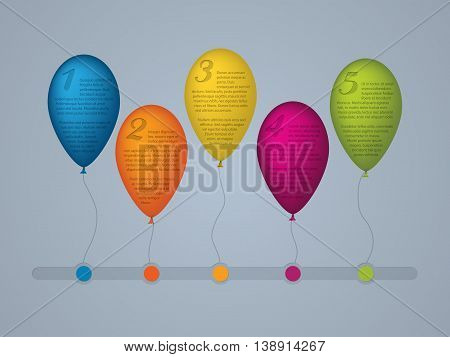 Infographic background template design with numbered balloons