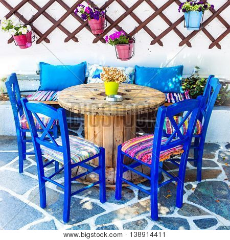Traditiona Greece - cute wooden chairs in taverna