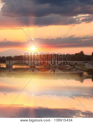 Avignon Bridge With Rhone River At Sunset, Pont Saint-benezet, Provence, France