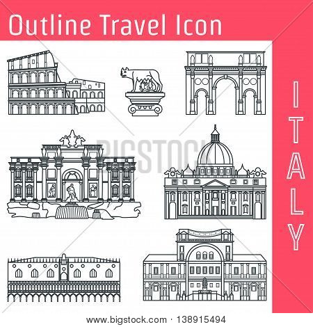 Vector Illustration of Rome Landmark Outline for Design, Website, Background, Banner. Silhouette Italy Tourism Infographic Element. Vacation Template. coliseum, Vatican Museum, Trevi fountain, Doges Palace