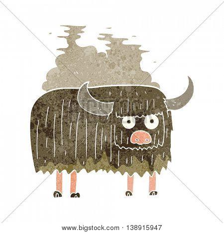 freehand retro cartoon smelly cow