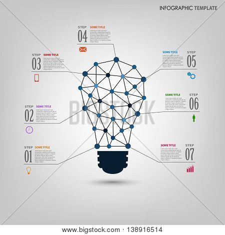 Info graphic with design abstract light bulb template vector eps 10