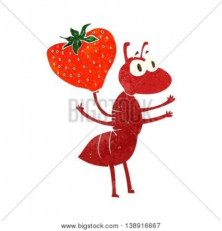 freehand retro cartoon ant carrying food