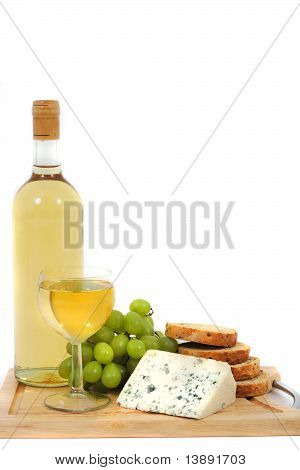 Wine, Grapes, Cheese And Bread