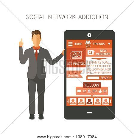Man Holding Smartphone With Social Network App Showing Numbers Of Photos, Friends, Followers, Messag
