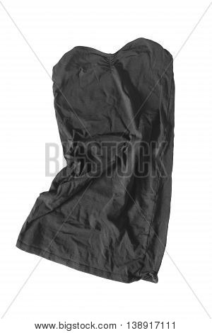 Black mini strapless dress crumpled on white background