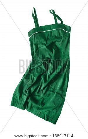 Crumpled green linen sundress on white background