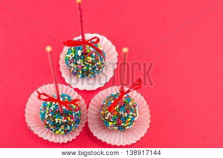 Cake Pops On Red Background