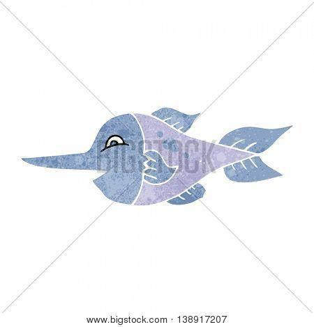 freehand retro cartoon swordfish