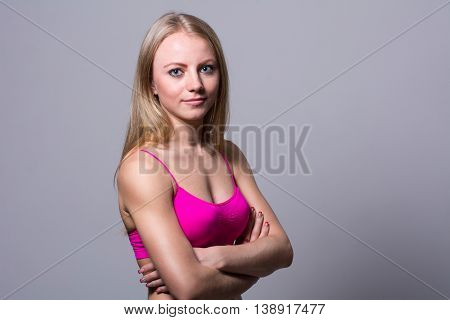 Close-up Portrait Of A Pretty Girl Athlete