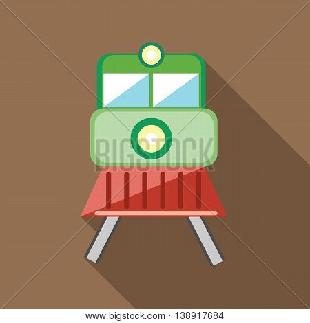 Train locomotive transportation railway icon in flat style on a coffee background