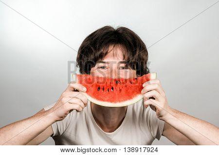 Female Eating A Melon