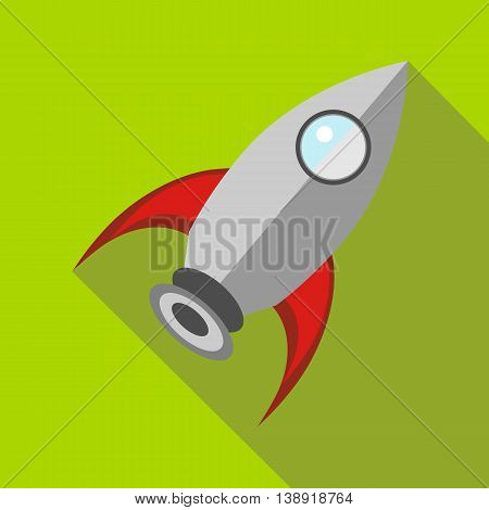 Retro rocket icon in flat style on a green background
