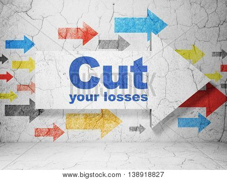 Business concept:  arrow with Cut Your losses on grunge textured concrete wall background, 3D rendering