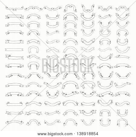 Big Set of 100 Hand Drawn Black Outlined Doodle Sketched Rustic Decorative Banners and Ribbons. Ribbons Variation. Vintage Vector Illustration.