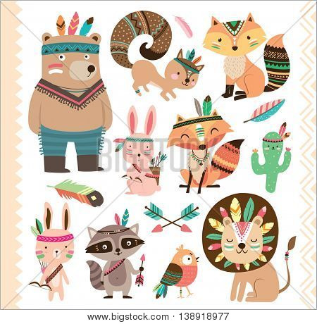 Set of cute tribal animals in cartoon style