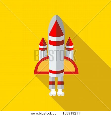 Space shuttle icon in flat style on a yellow background